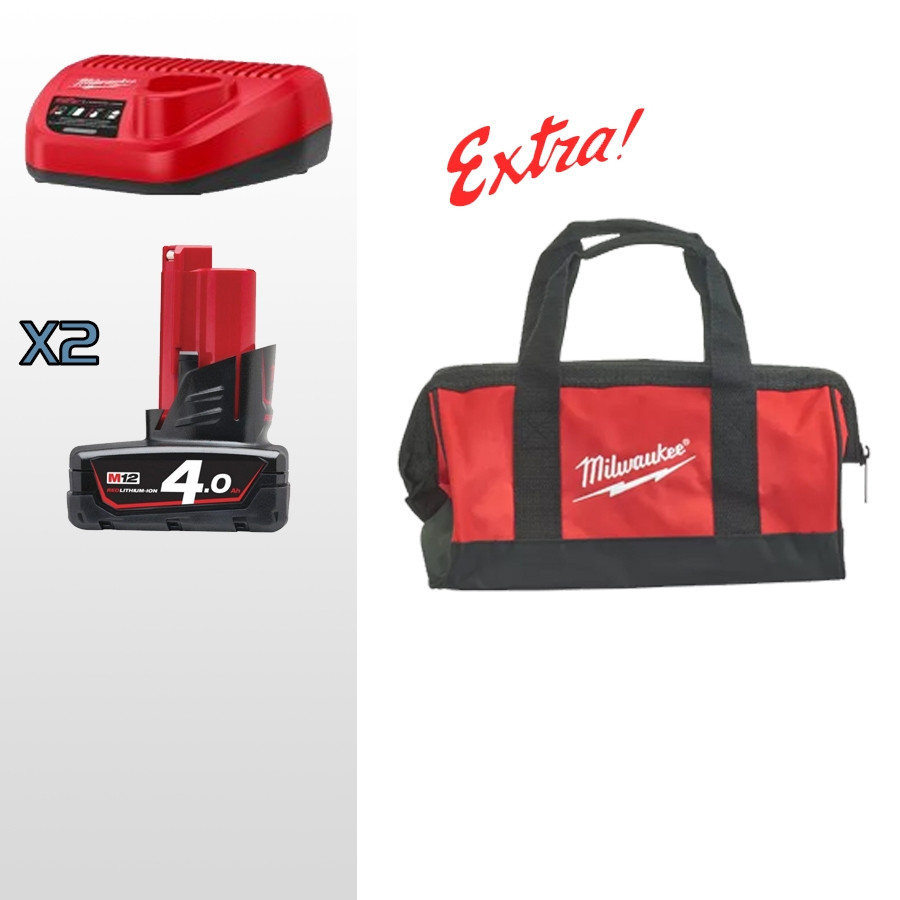 MILWAUKEE KIT ENERGY 12V 4,0 AH COMPOSTO DA: 2 BATTERIE M12 4AH + CARICABATTERIE + IN OMAGGIO BORSA MILWAUKEE - 4933459211