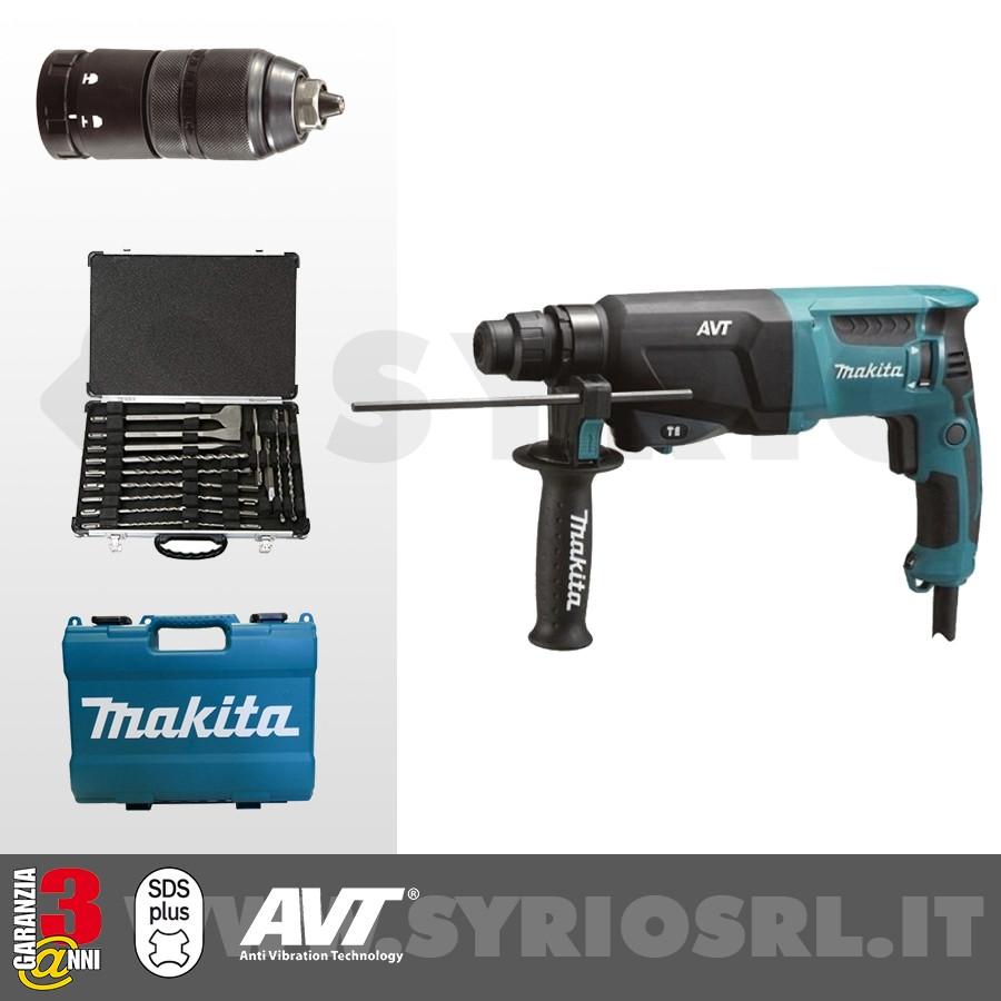 MAKITA HR2631FT12 TASSELLATORE SDS-Plus 800W 3 FUNZIONI 26 mm + MANDRINO AUTOSERRANTE + VALIGETTA SET DI PUNTE