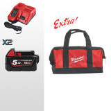 KIT ENERGY 18V 5,0 AH COMPOSTO DA: 2 BATTERIE M18 5AH + CARICABATTERIE + IN OMAGGIO BORSA MILWAUKEE - 4933459217